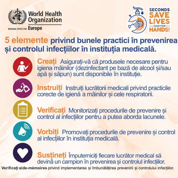 """5 mai 2021 – Ziua mondială a igienei mâinilor cu genericul """"Câteva secunde pentru a salva vieți: respectă igiena mâinilor"""""""